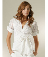 DIANE von FURSTENBERG BELLE WHITE EYELET TOP BLOUSE - US 12 - UK 16 - $99.99