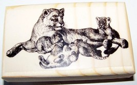 LION AND CUBS ~NEW mounted rubber stamp - $8.00