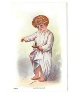 Good Night Artist Signed Child in Nightshirt with Candlestick Vintage Po... - $4.99