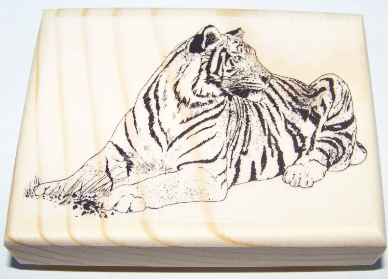 WHITE BENGAL TIGER ~ SIDEVIEW new mounted rubber stamp