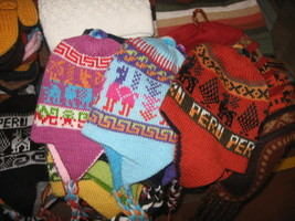 Peruvian chullo,Hat with ear flaps, reversible,made of Alpac - $26.00
