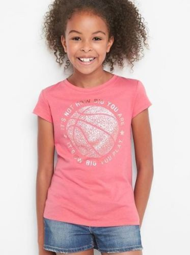 GAP Kid Girl Tee Top 14 16 Earth Graphic Pink Short Sleeve Crew Neck Cotton New