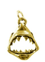 LOOK New Gold plated Sterling Silver .925 Jaws SHARK Tooth Charm Pendant... - $19.12