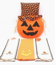 "Halloween Kitchen Decor Towels & Stuffed Pumpkin 16.5"" Plush Pillow NEW  - $35.99"