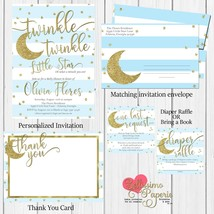 Twinkle Twinkle Little Star Baby Shower Invitation Set Blue Gold Star Moon - £15.87 GBP