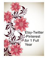 Etsy,Amazon and more-Twitter and Pinterest for 1 Full Year.-I will pin 1... - $22.00