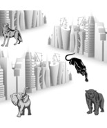 3d Industrial Skylines with Wild Animals-Digital Immediate Download-Bear... - $3.00