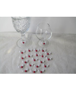 Set of  24 Dark Red/White Pearls Wine Glass Charms-Party-Gifts-Wedding - $20.00