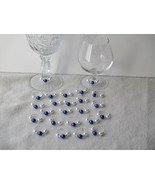 Set of 24 Dark Lapls Blue/White Pearls Wine Glass Charms-Party-Gifts- - $20.00