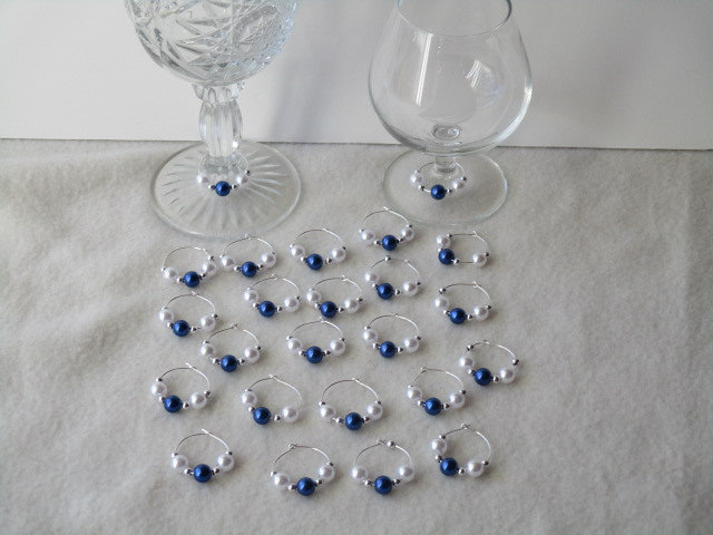 Set of 24 Dark Lapls Blue/White Pearls Wine Glass Charms-Party-Gifts-