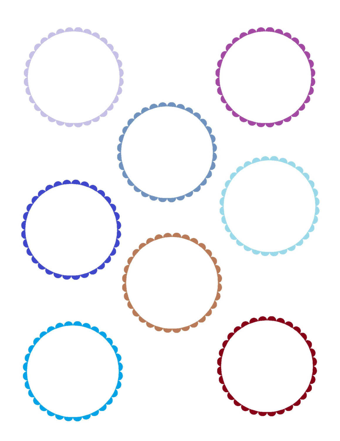 4 Scallop Circles-Digital Immediate Download-ClipArt-Art Clip-Party Tags