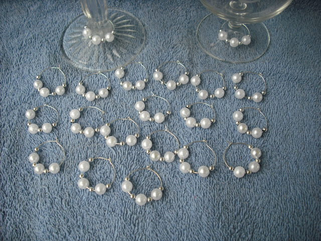 Set of 30 White Pearls Wine Glass Charms-Party-Gifts-Free Shipping.