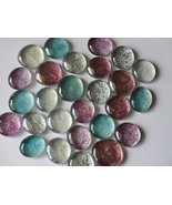 30 Assorted Round Flat Back Glass Glittered Gem... - $16.99