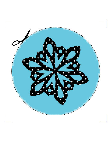 4 Snowflake Coaster-Digital Immediate Download-Coaster-Christmas-Blue