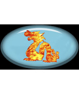 5- Brad Oval Glass Blue with Dragon-Digital Imm... - $3.00