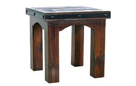 Rustic Gran Hacienda End Table Real Solid Wood Western Cabin Lodge Old West - $331.65