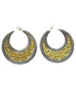 Gerochristo 1251- Solid Gold & Silver Medieval-Byzantine Crescent Earrin... - $2,150.00