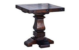 Rustic Gran Hacienda Pedestal End Table Solid Wood Western Cabin Lodge O... - $351.45