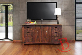 "Anton Natural Wood 70"" Rustic TV Stand Real Solid Wood Western Cabin Lodge - $886.05"