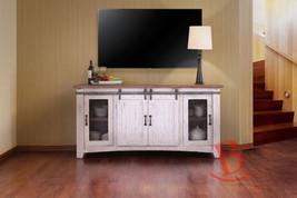 """Anton White Finish 60"""" Barn Door TV Stand - Sliding Door - Solid Wood - ... - $886.05"""