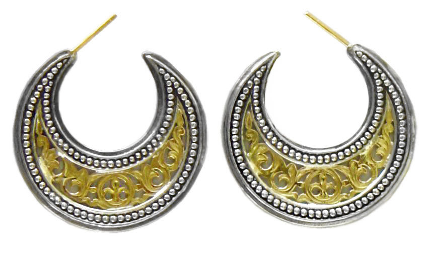 Primary image for  Gerochristo 1252 -Solid Gold & Silver Medieval-Byzantine Crescent Earrings -M