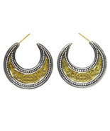 Gerochristo 1252 -Solid Gold & Silver Medieval-Byzantine Crescent Earri... - $860.00