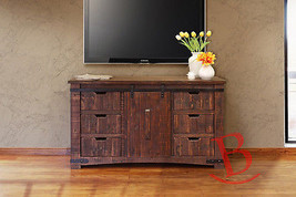 "Anton Natural Finish 60"" Rustic TV Stand Real Solid Wood Western Cabin Lodge - $846.45"