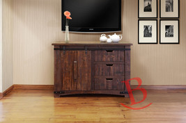 "Anton Natural Finish 50"" Rustic TV Stand Real Solid Wood Western Cabin Lodge - $747.45"