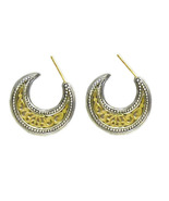 Gerochristo 1253 -Solid Gold & Silver Medieval-Byzantine Crescent Earrin... - $420.00