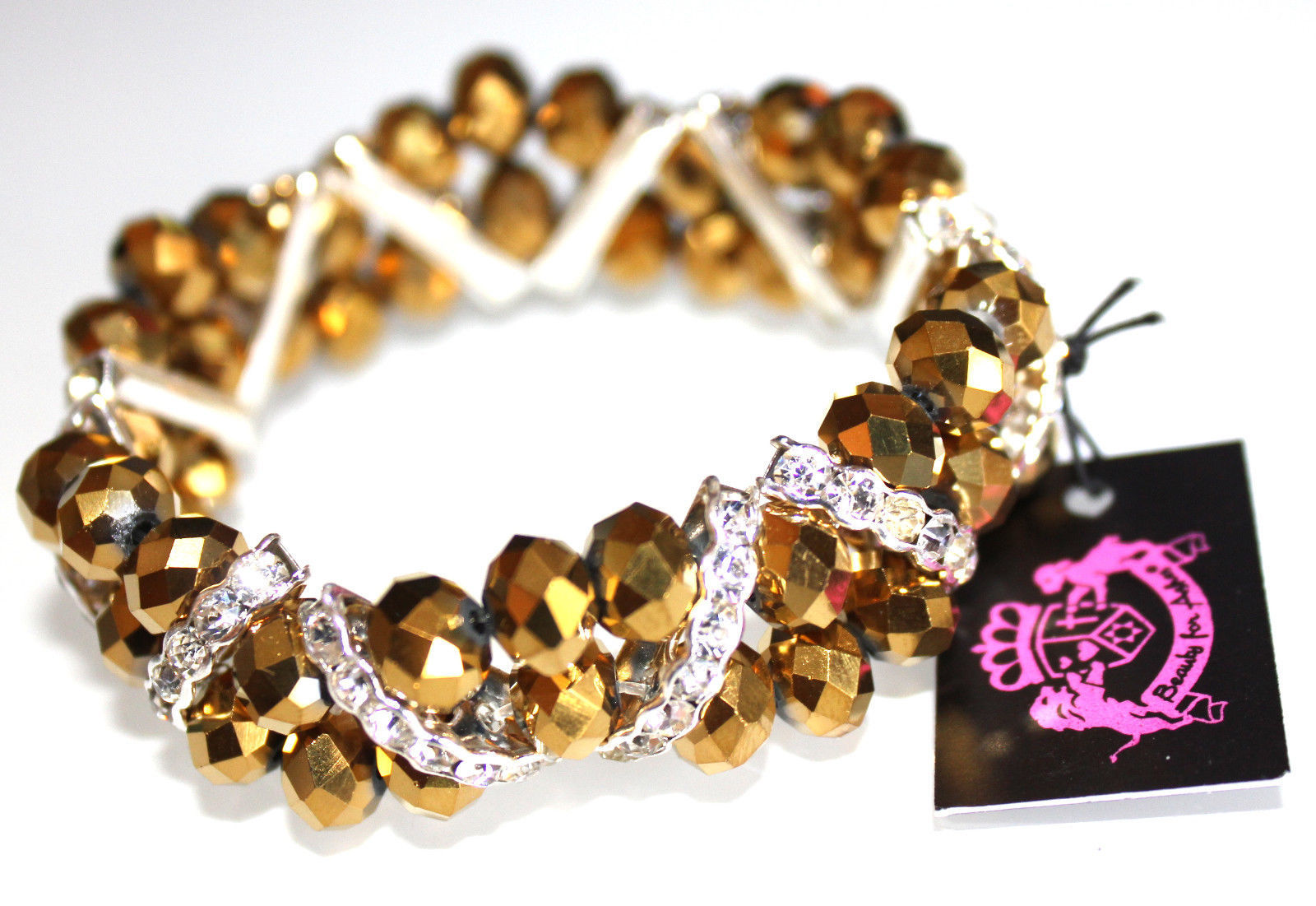 Primary image for Glimmering Sparkly Dressy Bronze Facted Crystal Gold Silver Stretch Bracelet