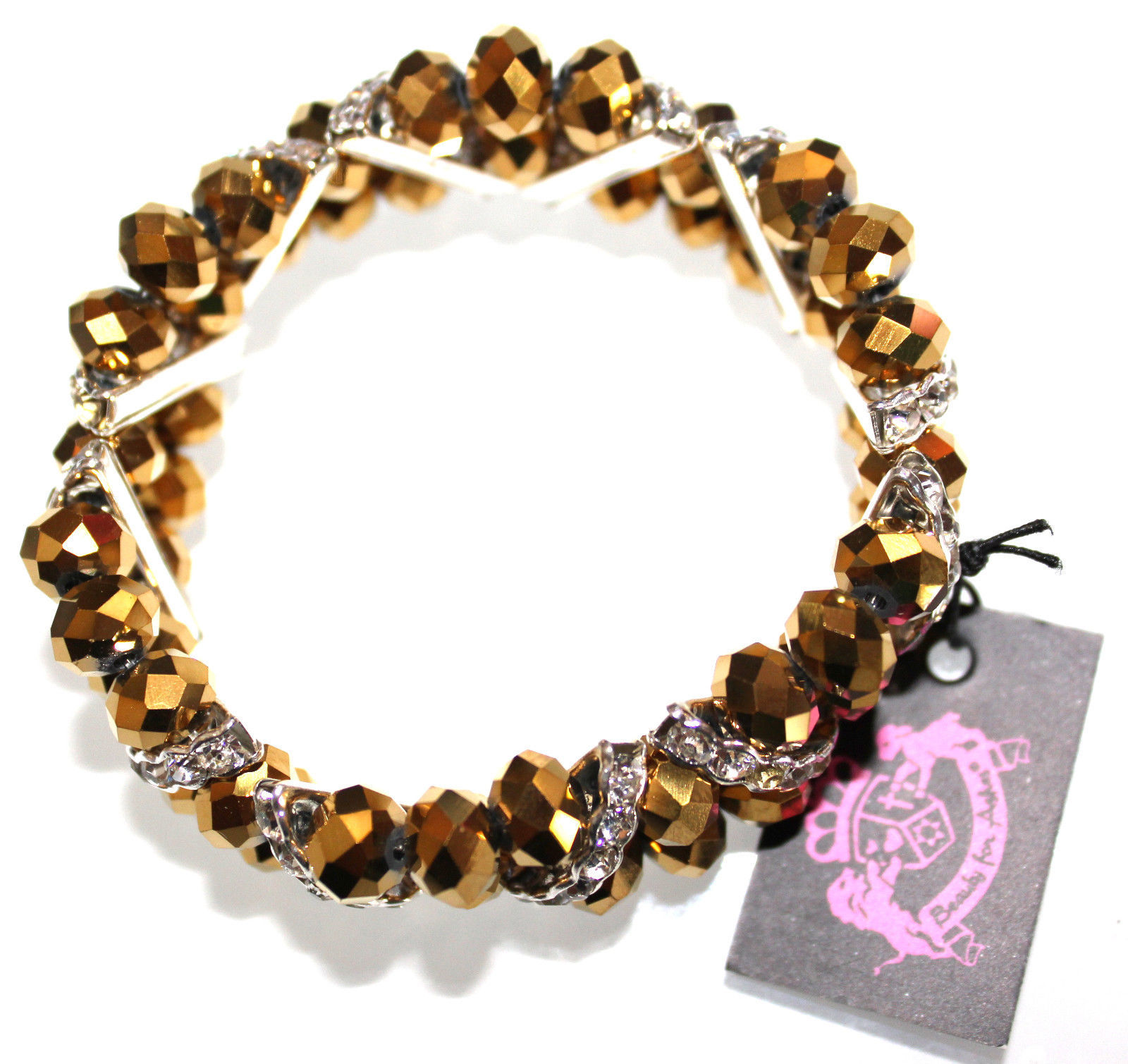Glimmering Sparkly Dressy Bronze Facted Crystal Gold Silver Stretch Bracelet