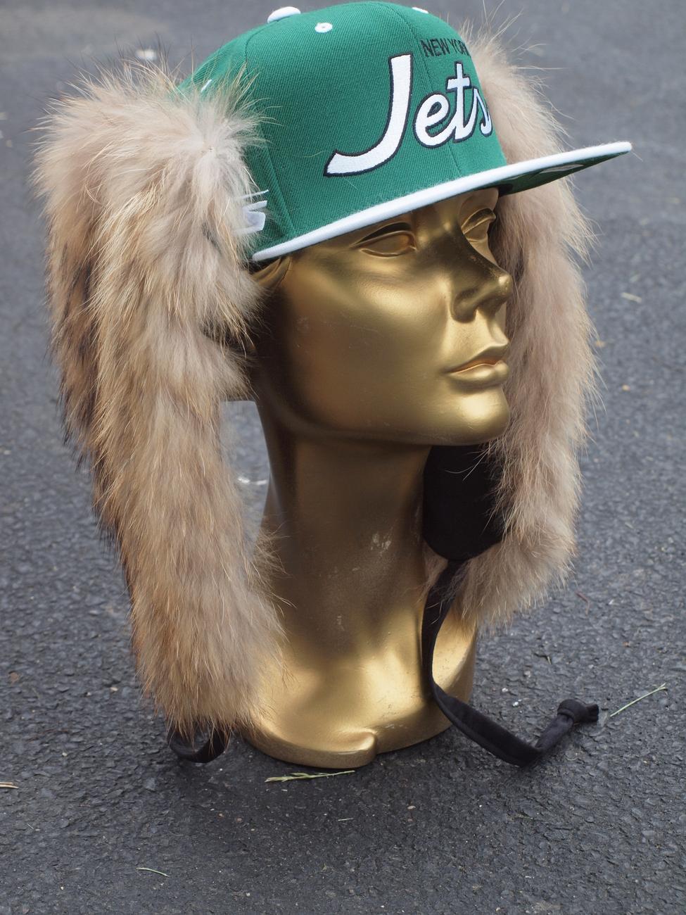 NFL MITCHELL & NESS NY JETS CUSTOM FUR HAT