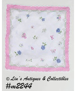 Vintage Hanky with Flowers Butterflies Bows and Cobwebs (Inventory #M2244) - $24.00