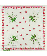 Bouquets of White Poinsettias Vintage Christmas Handkerchief  (Inventory... - $16.00