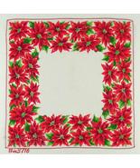 Red Poinsettias Vintage Christmas Handkerchief (Inventory #M3716) - $15.00