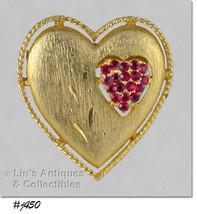 Vintage JJ Heart Pin Rhinestone Heart within a Gold-Tone Heart Brooch (Inv#J450 - $28.00