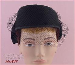 Vintage Bellini of New York Black Hat with Black Netting Veil  (Inv. #HAT249) - $50.00