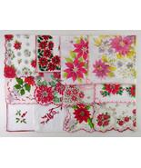 Lot of One Dozen Assorted Vintage Christmas Hankies Handkerchiefs (Lot #L9) - $100.00