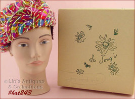 Vintage Beret Style Hat Pink Color Confetti with Hat Box (Inventory #HAT243) - $38.00