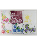 Lot of 6 Larger Size Vintage Floral Hankies Handkerchiefs  (Lot #Y8) - $50.00