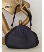 Vintage Black Cloth Handbag with Bakelite Closure (Inventory #HB189) - $48.00
