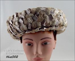 Vintage LENHAR Taupe Color Raffia and Ribbon Hat (Inventory HAT302) - $38.00
