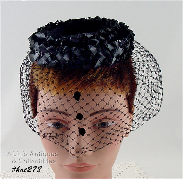 Vintage Mourning Hat with Netting Veil with Tear Drops (Inventory #HAT278) - $55.00