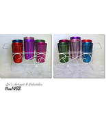 Aluminumware Set of 6 Vintage Bascal Tumblers in Wire Flower Cart Shaped... - $98.00