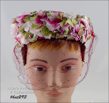 Vintage LE'CHAPOU Red Hat with Shades of Pink Flowers and Netting Veil  (#HAT293 - $28.00