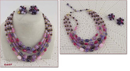 Vintage 4-Strand Glass Bead Necklace with Matching Earrings (Inventory #J669) - $48.00