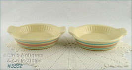 McCoy Pottery Set of Two Vintage Stonecraft Pink and Blue Quiche Dishes ... - $50.00