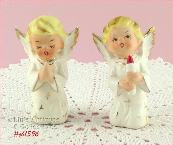 Set of Two Vintage Kneeling Angel Figurines  (Inventory #CH1396) - $18.00