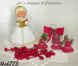 Lot of Assorted Vintage Christmas Items Topper Garland Bells (Inventory #CH773) - $38.00