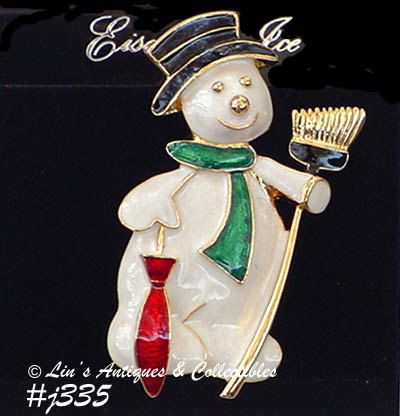 Primary image for Eisenberg Ice Dapper Snowman Pin on Original Display Hang Card (Inventory #J335)